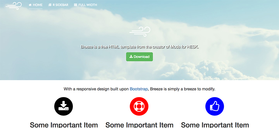 Screenshot of Breeze HTML template
